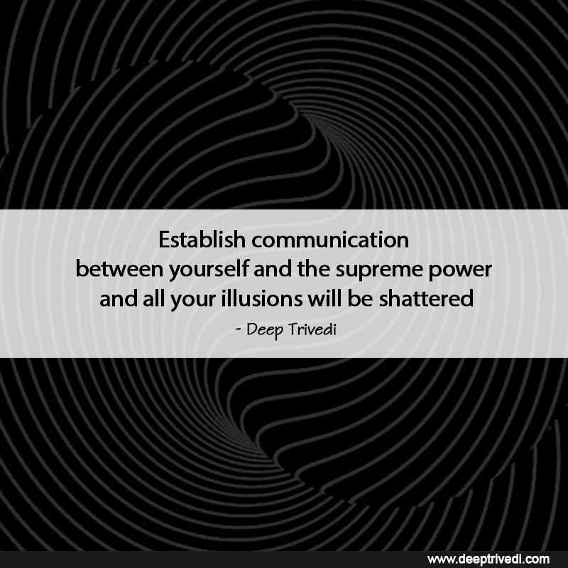 communication between yourself and the supreme power