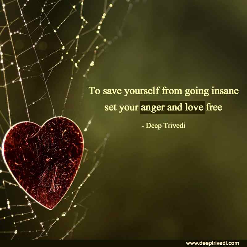 To save yourself from going insane set your anger and love free