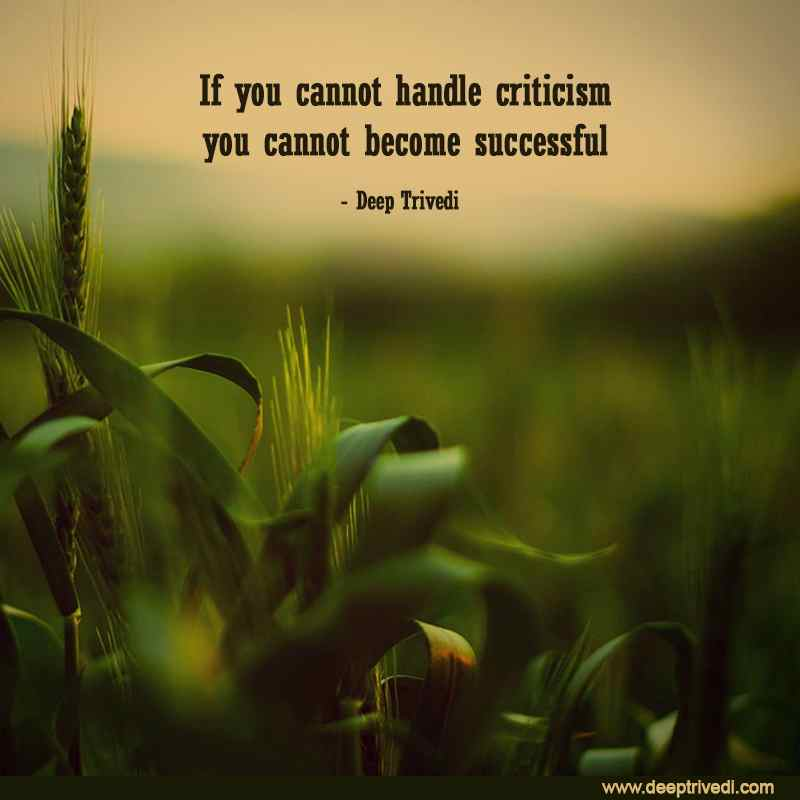 If you cannot handle criticism you cannot become successful